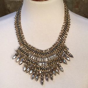 Tasha metal, stones and leather statement necklace